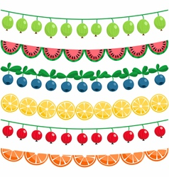 Berries and fruits garland set vector image vector image