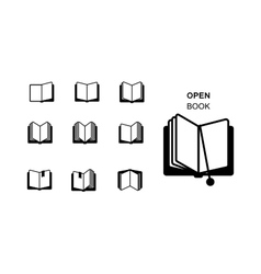 Black silhouettes of open book vector image