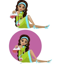 Cute young Indonesian woman in cocktail dress vector image vector image