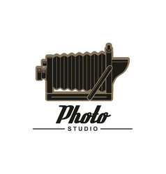 photo studio symbol of retro folding camera vector image