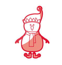 Red silhouette of snowman with cap and scarf and vector