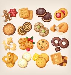 Set of delicious cookies vector image vector image