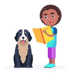 surprised kid stands with book and pedigree dog vector image