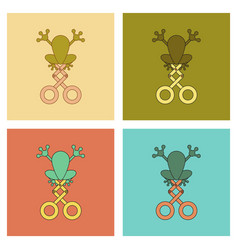 assembly flat icons kids toy frog vector image
