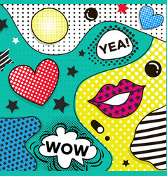 background in pop art style trendy comic vector image