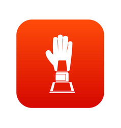 baseball glove award icon digital red vector image