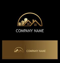 House building gold company logo vector