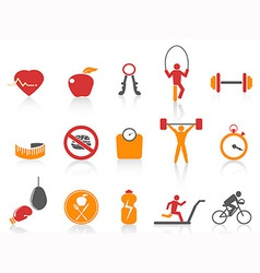 simple fitness icons setorange color series vector image vector image