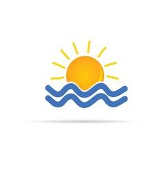 sun and sea icon color vector image