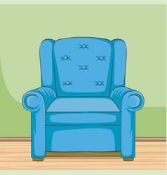 blue armchair hand drawn room vector image