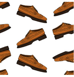 classic shoes seamless pattern or men accessory vector image