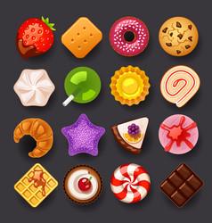 dessert icon set vector image