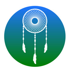 dream catcher sign white icon in bluish vector image