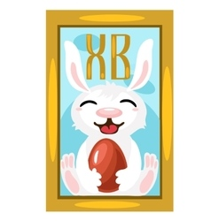 Easter Bunny with chocolate egg picture on wall vector image