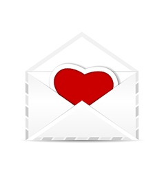 Envelope with valentine red heart vector image vector image