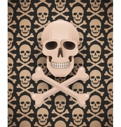 Huge skull on seamless dark pattern vector image vector image
