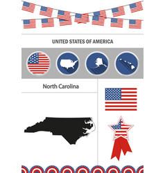 map of north carolina set of flat design icons vector image vector image