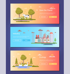 Save the planet - set of modern flat design style vector