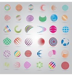 Sphere Icons Set - Isolated On Gray Background vector image vector image