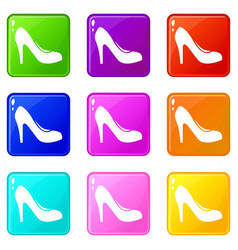 women shoe with heels icons 9 set vector image vector image