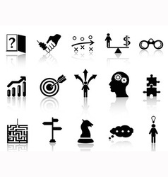 business strategy icons set vector image vector image