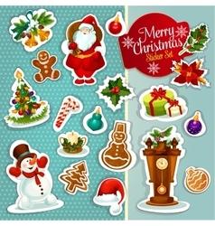 Christmas sticker icon set for xmas design vector image vector image