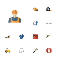 flat icons worker pneumatic roll meter and other vector image