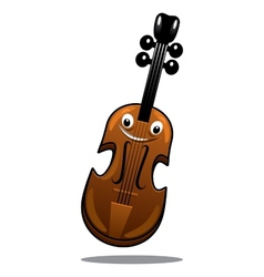 Happy brown cartoon wooden violin vector image