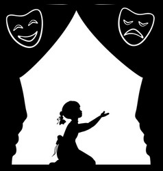 Silhouette girl plays the stage world theatre day vector