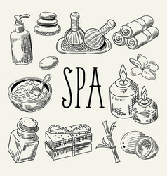 spa wellness beauty hand drawn doodle vector image vector image