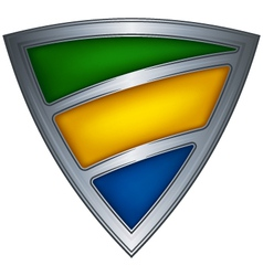 steel shield with flag gabon vector image vector image