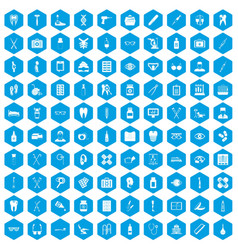 100 medical accessories icons set blue vector
