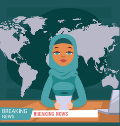 arabic female news anchor on tv breaking news vector image
