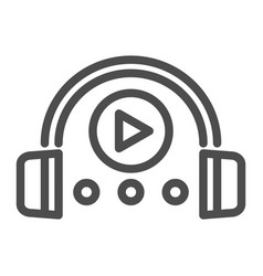 Audio course line icon headphones and play sign vector