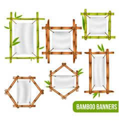 Bamboo frames banners set vector