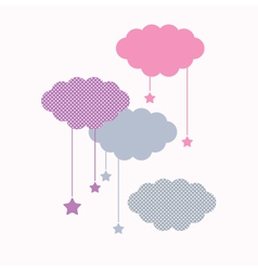 Beautiful cute sleeping clouds with stars vector image