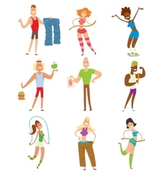 Beauty fitness people weight loss cartoon vector image