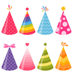 Birthday party hats set vector