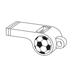 black and white flat referee whistle for soccer vector image