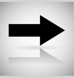 Black arrow straight right sign with reflection vector