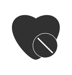 Black icon on white background heart with medical vector