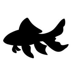 Black silhouette golden fish vector