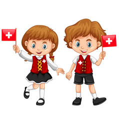 Boy and girl with switzerland flag vector