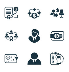 Business management icons set with business vector