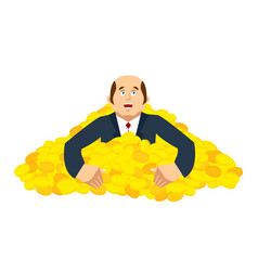 businessman and pile of gold lucky and lot of vector image