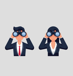 Businesswoman and businessman holding binoculars vector