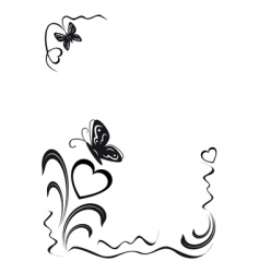 butterfly hearts and floral ornamen vector image