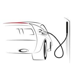 car at a gas station vector image