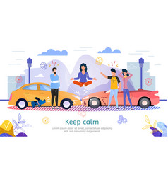 car insurance flat promo banner template vector image