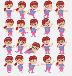 cartoon character girl with glasses set with vector image